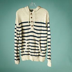 J Crew S Stripe Cotton Henley Hoodie Sweater